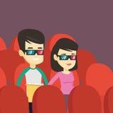 Szczęśliwi przyjaciele ogląda 3D film w theatre Obrazy Royalty Free