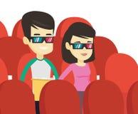 Szczęśliwi przyjaciele ogląda 3D film w theatre Obrazy Stock