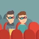 Szczęśliwi przyjaciele ogląda 3D film w theatre Obraz Royalty Free