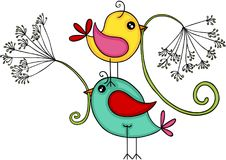 Szczęśliwi ptaki z dandelion kwiatem Zdjęcia Stock