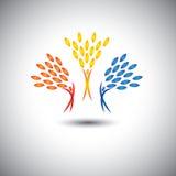 Szczęśliwi, radośni, z podnieceniem ludzie jako drzewa życie, - eco pojęcia vec Zdjęcia Royalty Free