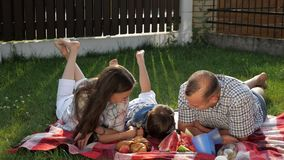 Szczęśliwi rodzinni kłamstwa mówją i śmiają się na jaskrawej koc zdjęcie wideo