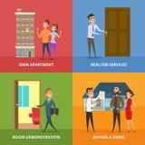 Szczęśliwi rodzinni kupienie nieruchomości budynki ilustracji