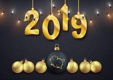 Szczęśliwi 2019 rok pic, dekoracyjne złociste piłki i liczby te, royalty ilustracja