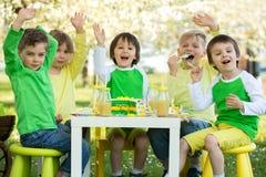 Szczęśliwi słodcy preschool dzieci, świętuje kwinta urodziny cu Fotografia Royalty Free