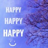 Szczęśliwi słowa na niebieskim niebie Obrazy Stock