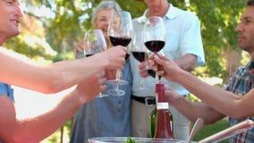 Szczęśliwi seniory wznosi toast z ich rodziną zdjęcie wideo