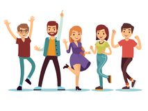 Szczęśliwi smilling tanczy młodzi persons przy przyjęciem gwiazdkowym Kreskówek wektorowi ludzie ustawiający