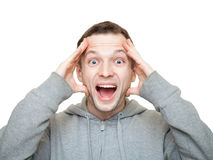 Szczęśliwi sporty młodzi Kaukascy mężczyzna śmiechy Obraz Stock