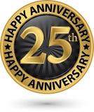 Szczęśliwi 25th rok rocznicowa złocista etykietka, wektor Obrazy Royalty Free