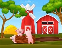 Szczęśliwi trzy świni mały bawić się loguje się gospodarstwo rolne ilustracja wektor