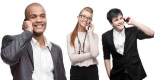 Szczęśliwi uśmiechnięci ludzie biznesu dzwoni przenośnym telefonem Zdjęcie Royalty Free
