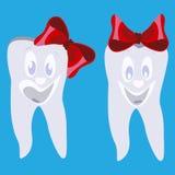 Szczęśliwi uśmiechnięci zęby z czerwonych łęków wektorową płaską ilustracją ilustracji