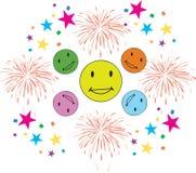 Szczęśliwi uśmiechu fajerwerku confetti ilustracji