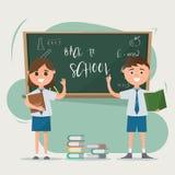 Szczęśliwi ucznie rysuje na blackboard z książkami na podłoga Zdjęcia Stock