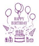 szczęśliwi urodzinowi elementy Zdjęcia Royalty Free