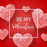 Szczęśliwi valentines dnia i pielenie projekta elementy również zwrócić corel ilustracji wektora Różowy tło Z ornamentami, serca  Fotografia Stock