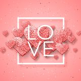 Szczęśliwi valentines dnia i pielenie projekta elementy również zwrócić corel ilustracji wektora Różowy tło Z ornamentami, serca  Obraz Royalty Free