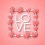 Szczęśliwi valentines dnia i pielenie projekta elementy również zwrócić corel ilustracji wektora Różowy tło Z ornamentami, serca  Zdjęcia Stock