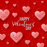 Szczęśliwi valentines dnia i pielenie projekta elementy również zwrócić corel ilustracji wektora Różowy tło Z ornamentami, serca  Fotografia Royalty Free