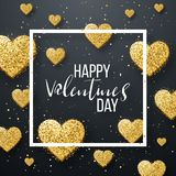 Szczęśliwi valentines dnia i pielenie projekta elementy również zwrócić corel ilustracji wektora Różowy tło Z ornamentami, serca  Zdjęcia Royalty Free
