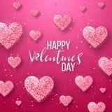 Szczęśliwi valentines dnia i pielenie projekta elementy również zwrócić corel ilustracji wektora Różowy tło Z ornamentami, serca  ilustracji