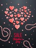 Szczęśliwi valentines dnia i pielenie projekta elementy również zwrócić corel ilustracji wektora Różowy tło Z ornamentami, serca  ilustracja wektor