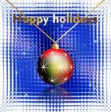 Szczęśliwi wakacje życzą na szklanym tle Obrazy Royalty Free