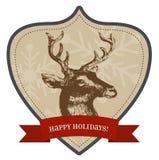 Szczęśliwi wakacje - Bożenarodzeniowa odznaka ilustracja wektor