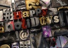Szczęśliwi wakacje! na retro drewnianym druku bloki Świętują festi Zdjęcia Stock