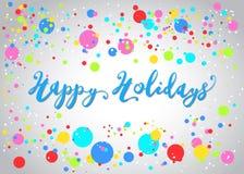 Szczęśliwi wakacje Pisze list i tęcza confetti Zdjęcie Stock