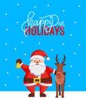 Szczęśliwi wakacje Wita kartkę bożonarodzeniową z Santa ilustracja wektor