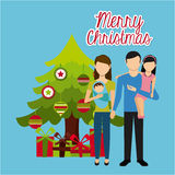 Szczęśliwi Wesoło boże narodzenia ilustracji