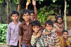 Szczęśliwi wiejscy hindusów dzieciaki Zdjęcie Stock