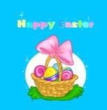 Szczęśliwi Wielkanocnej karty kosza jajka Fotografia Royalty Free