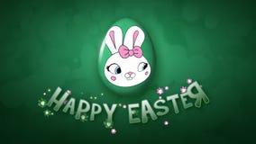 Szczęśliwi Wielkanocni animacja tytułu przyczepy 25 FPS bąble ciemnozieleni ilustracja wektor