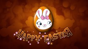 Szczęśliwi Wielkanocni animacja tytułu przyczepy 50 FPS bąble złoci ilustracja wektor