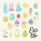 Szczęśliwi Wielkanocni elementy Ustawiający z jajkami, królikiem, kurczątkami i kwiatami, Wiosna projekt dla Wakacyjnych dekoracj royalty ilustracja