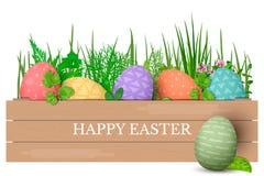 Szczęśliwi Wielkanocni jajka z tekstem z rzędu Kolorowi Easter jajka w okręgu na złotym tle Ręki chrzcielnica Zdjęcie Stock