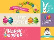 Szczęśliwi Wielkanocni płascy projektów sztandary ustawiający Obrazy Royalty Free