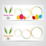 Szczęśliwi Wielkanocni projektów sztandary ustawiający Zdjęcia Royalty Free