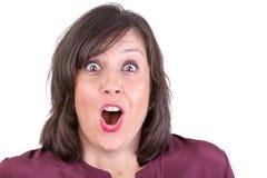 Szczęśliwie Zadziwiająca kobieta Patrzeje Ciebie Fotografia Royalty Free