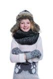 Szczęśliwy śliczny dzieciak pozuje w studiu odizolowywającym na białym tle Będący ubranym zimę odziewa Trykotowy woolen pulower,  Zdjęcia Royalty Free