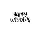 szczęśliwy ślub handwritten Kaligrafia dla kartka z pozdrowieniami, ślubni zaproszenia ilustracja wektor