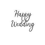 szczęśliwy ślub handwritten Kaligrafia dla kartka z pozdrowieniami, ślubni zaproszenia royalty ilustracja