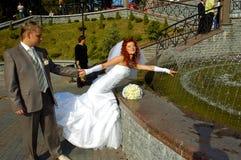 szczęśliwy ślubnych Fotografia Royalty Free