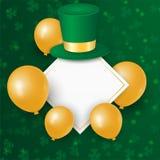Szczęśliwy Świątobliwy Patrick dzień z koniczynowym shamrock opuszcza, złoto 3d szybko się zwiększać, kapelusz na zielonym tle We royalty ilustracja