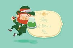 Szczęśliwy świętego Patrick dnia gratters Leprechaun Zdjęcia Stock