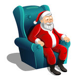 Szczęśliwy Święty Mikołaj obsiadanie w karle na białym tle royalty ilustracja