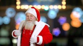 Szczęśliwy Święty Mikołaj w eyeglasses tanczy zbiory